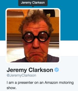 Jeremy Clarkson cuenta de Twitter actualizada tras el anuncio de su fichaje por Amazon
